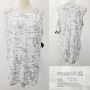 Reebok Active Wear White Gray Tie Dye Tank Top 1X